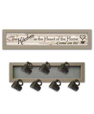 """The Kitchen Vignette 2-Piece Vignette with 7-Peg Mug Rack by Millwork Engineering, Taupe Frame, 32"""" x 7"""""""