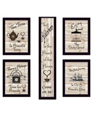 """Kitchen Friendship Collection 5-Piece Vignette by Millwork Engineering, Black Frame, 10"""" x 32"""""""