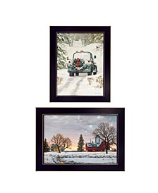 """Home for Christmas Collection By Bonnie Mohr, Printed Wall Art, Ready to hang, Black Frame, 28"""" x 18"""""""