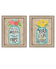 "Mason Jars I Collection By Debbie Strain, Printed Wall Art, Ready to hang, Beige Frame, 30"" x 19"""