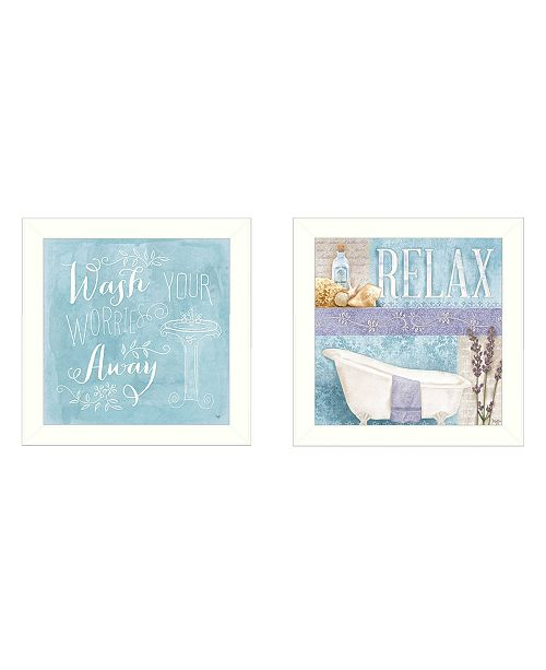 """Trendy Decor 4U Trendy Decor 4U Wash Collection By Mollie B., Printed Wall Art, Ready to hang, White Frame, 28"""" x 14"""""""