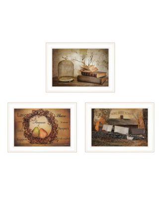 "Primitives Homestead 3-Piece Vignette by Robin Lee Vieira, White Frame, 21"" x 15"""
