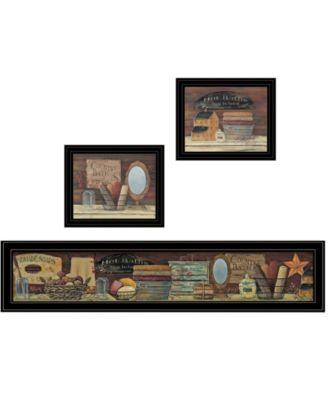 """COUNTRY BATH II 3-Piece Vignette by Pam Britten, Black Frame, 39"""" x 14"""""""