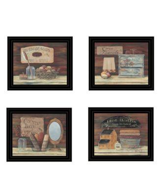 "Bathroom Collection II 4-Piece Vignette by Pam Britton, Black Frame, 17"" x 14"""