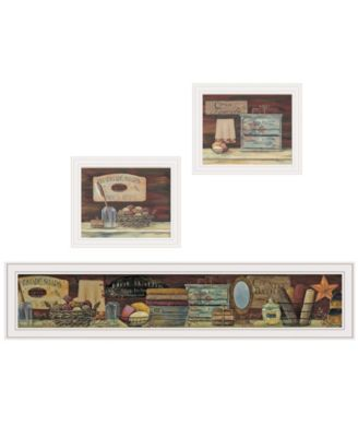 "COUNTRY BATH II 3-Piece Vignette by Pam Britten, White Frame, 39"" x 14"""