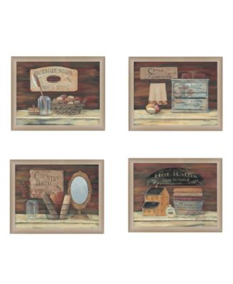 """BATHROOM COLLECTION I 4-Piece Vignette by Pam Britton, Taupe Frame, 17"""" x 14"""""""