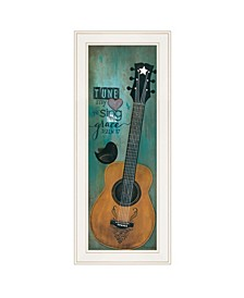 "Trendy Decor 4U Tune My Heart by Tonya Crawford, Ready to hang Framed print, White Frame, 9"" x 21"""