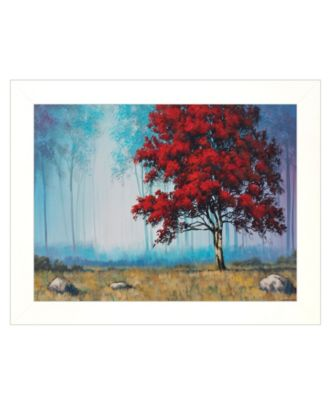 """Red Tree by Tim Gagnon, Ready to hang Framed print, White Frame, 19"""" x 15"""""""