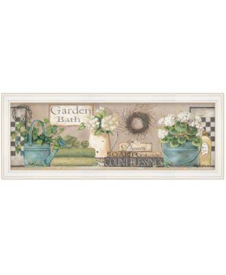 "Garden Bath by Pam Britton, Ready to hang Framed Print, White Frame, 39"" x 15"""