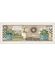 "Trendy Decor 4U Garden Bath by Pam Britton, Ready to hang Framed Print, White Frame, 39"" x 15"""