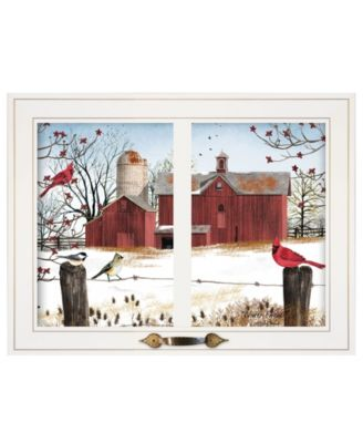 """Winter Friends by Billy Jacobs, Ready to hang Framed Print, White Window-Style Frame, 19"""" x 15"""""""