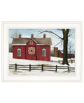 """Lover's Knot Quilt Block Barn by Billy Jacobs, Ready to hang Framed Print, White Frame, 19"""" x 15"""""""