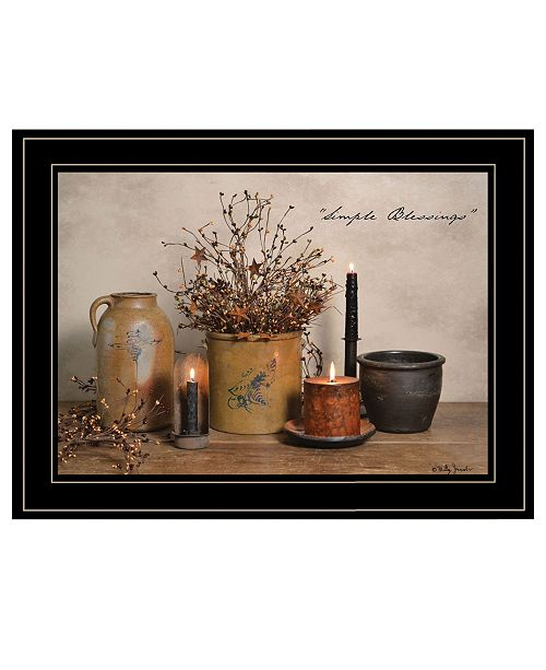 "Trendy Decor 4U Trendy Decor 4U Simple Blessings by Billy Jacobs, Ready to hang Framed Print, Black Frame, 19"" x 15"""