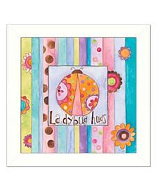 "Ladybug Hugs By Bernadette Deming, Printed Wall Art, Ready to hang, White Frame, 14"" x 14"""