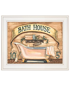 "Bath House by Becca Barton, Ready to hang Framed Print, White Frame, 13"" x 11"""
