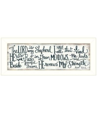 """The Lord is My Shepherd by Annie LaPoint, Ready to hang Framed Print, White Frame, 20"""" x 8"""""""