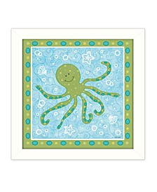 """Beetle and Bob Baby Squid by Annie LaPoint, Printed Wall Art, Ready to hang, White Frame, 14"""" x 14"""""""