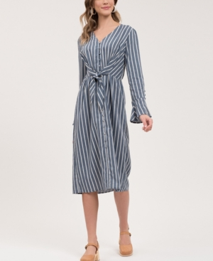 Blu Pepper Striped Midi-Dress with Tie-Front