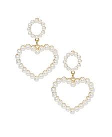 Heart Imitation Pearl Earrings