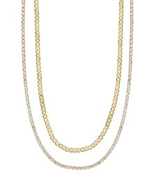 Simple Crystal Gold Chain Necklace Set