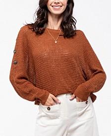 Shoulder Button Dolman Sleeve Sweater