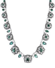 "Hematite-Tone Crystal & Imitation Pearl Collar Necklace, 16"" + 3"" extender"