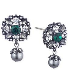 Hematite-Tone Crystal & Imitation Pearl Filigree Drop Earrings