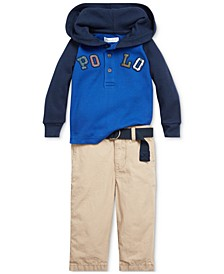 Baby Boys Hooded Top & Belted Pant Set