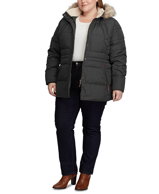 Lauren Ralph Lauren Plus-Size Interior-Drawstring Down Jacket, Created for Macy's