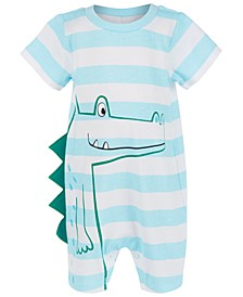 Baby Boys Striped Alligator Cotton Sunsuit, Created For Macy's