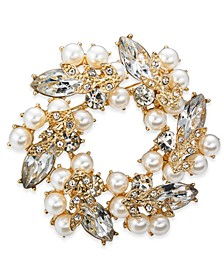 Gold-Tone Crystal & Imitation Pearl Wreath Pin, Created for Macy's