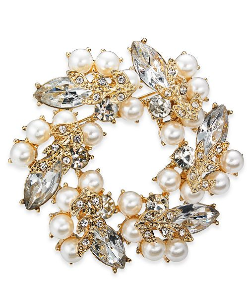 Charter Club Gold-Tone Crystal & Imitation Pearl Wreath Pin, Created for Macy's