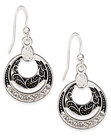 Silver-Tone Crystal Black Orbital Drop Earrings, Created For Macy's