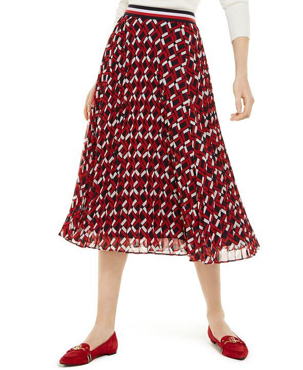 Tommy Hilfiger Printed Pleated Midi Skirt