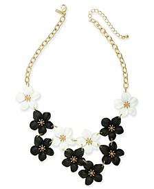 "INC Gold-Tone Resin Flower Statement Necklace, 19"" + 3"" extender, Created For Macy's"