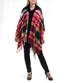 Sherling Collar Zip-Up Plaid Topper