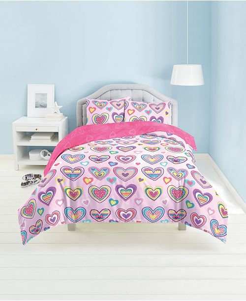 Dream Factory Heart Print 3-Piece Full/Queen Comforter Set