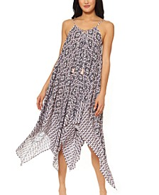 Venice Beach Printed Lace-Front Cover-Up Dress