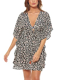 Cool Cat Printed Caftan Swim Cover-Up