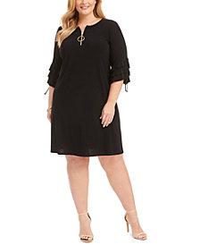 MSK Plus Size Ruffle-Sleeve Zip Dress