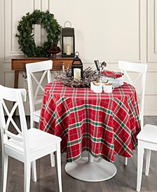 """Home For the Holidays Plaid Tablecloth - 70"""""""