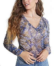 Printed Ruched Long-Sleeve Top
