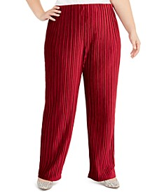 Plus Size Pull-On Velvet Wide-Leg Pants, Created For Macy's