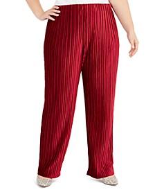 Plus Size Pull-On Velvet Wide-Leg Pants, Created For Macy's