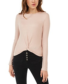 Juniors' Twist-Front Sparkly Ribbed Top