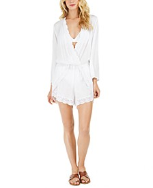 Costa Brava Crochet-Trim Romper Cover-Up