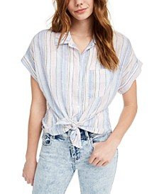 Juniors' Tie-Front Shine Blouse