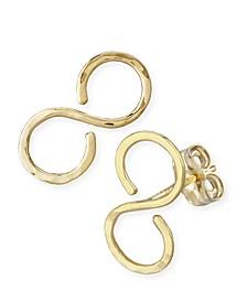 Hammered Infinity Stud Earrings Set in 14k Gold