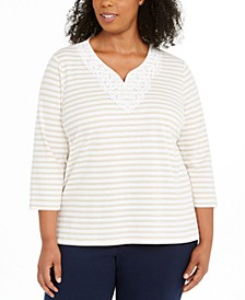 Plus Size Cottage Charm Monotone Stripe Top