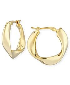 Flat Twist Hoop Earrings Set in 14k Gold